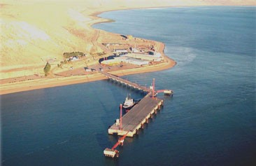 Puerto Punta Quilla, donde se instalarán los silos de granos para alimentar el ganado de Santa Cruz.