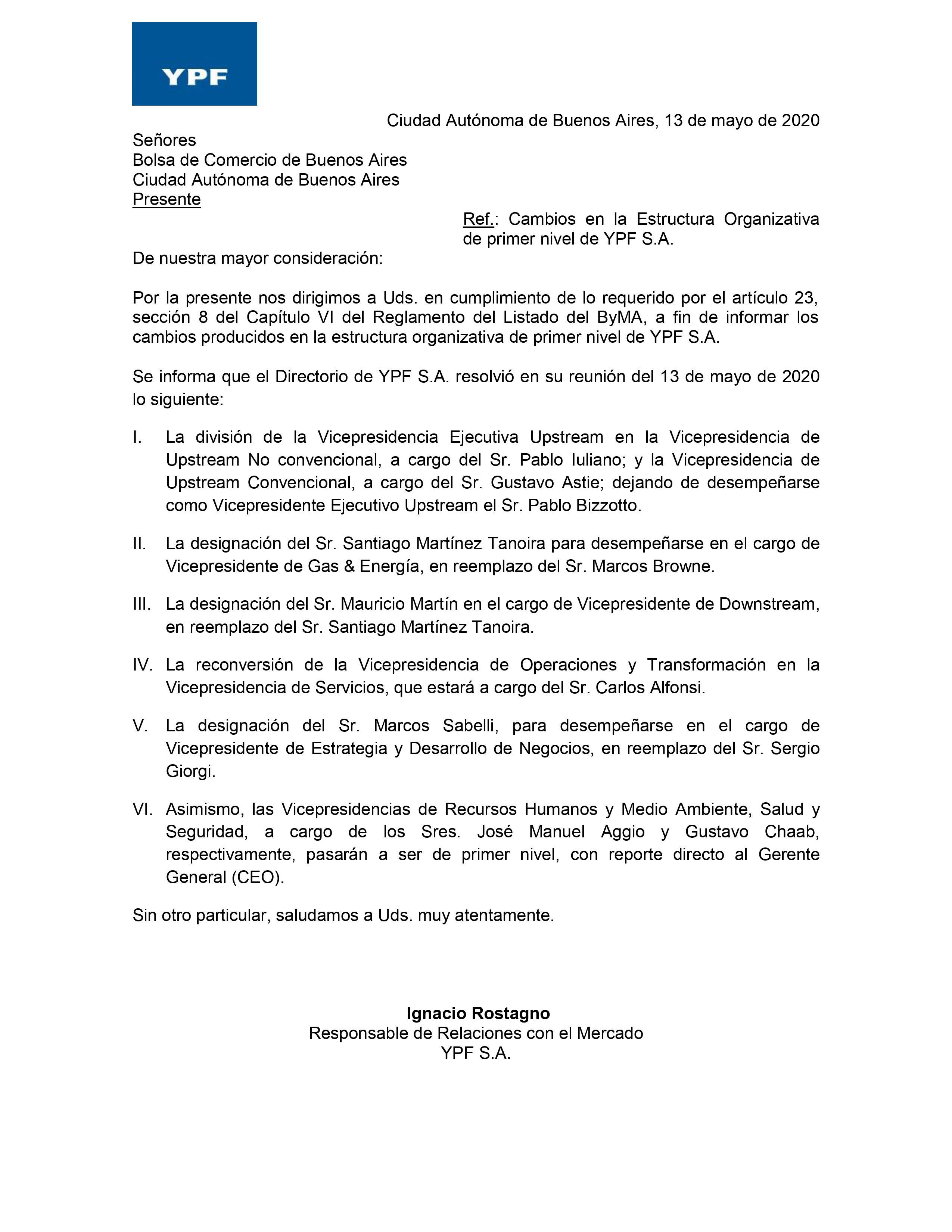 La comunicación de YPF a la Bolsa de Comercio de Comercio de Buenos Aires.