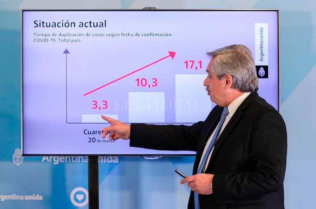 El presidente Alberto Fernández al extender la cuarentena el último 25 de abril.