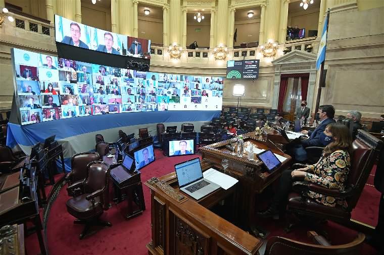 Sesión remota donde se aprobó en el Senado la creación de la Bicameral para investigar los créditos a Vicentín.
