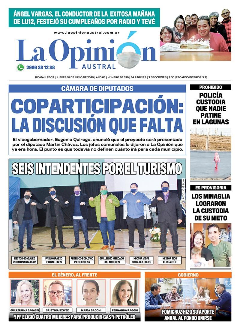 Tapa del Diario La Opinión Austral, edición impresa del 18 de junio de 2020.