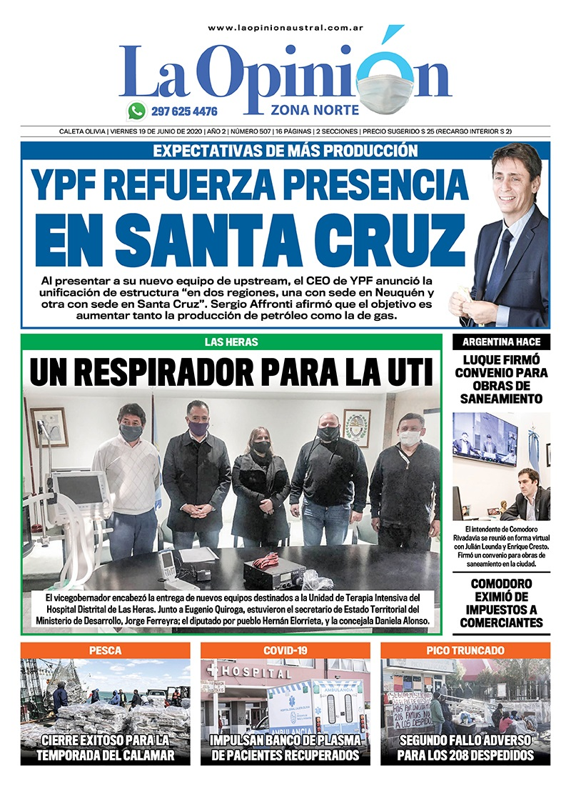 Tapa del Diario La Opinión Zona Norte, edición impresa del 19 de junio de 2020.