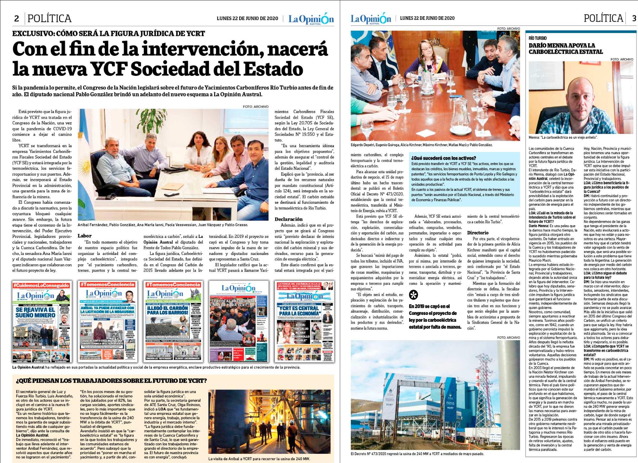 Así contó en exclusiva el diario La Opinión Austral cómo será la nueva figura jurídica de YCRT.