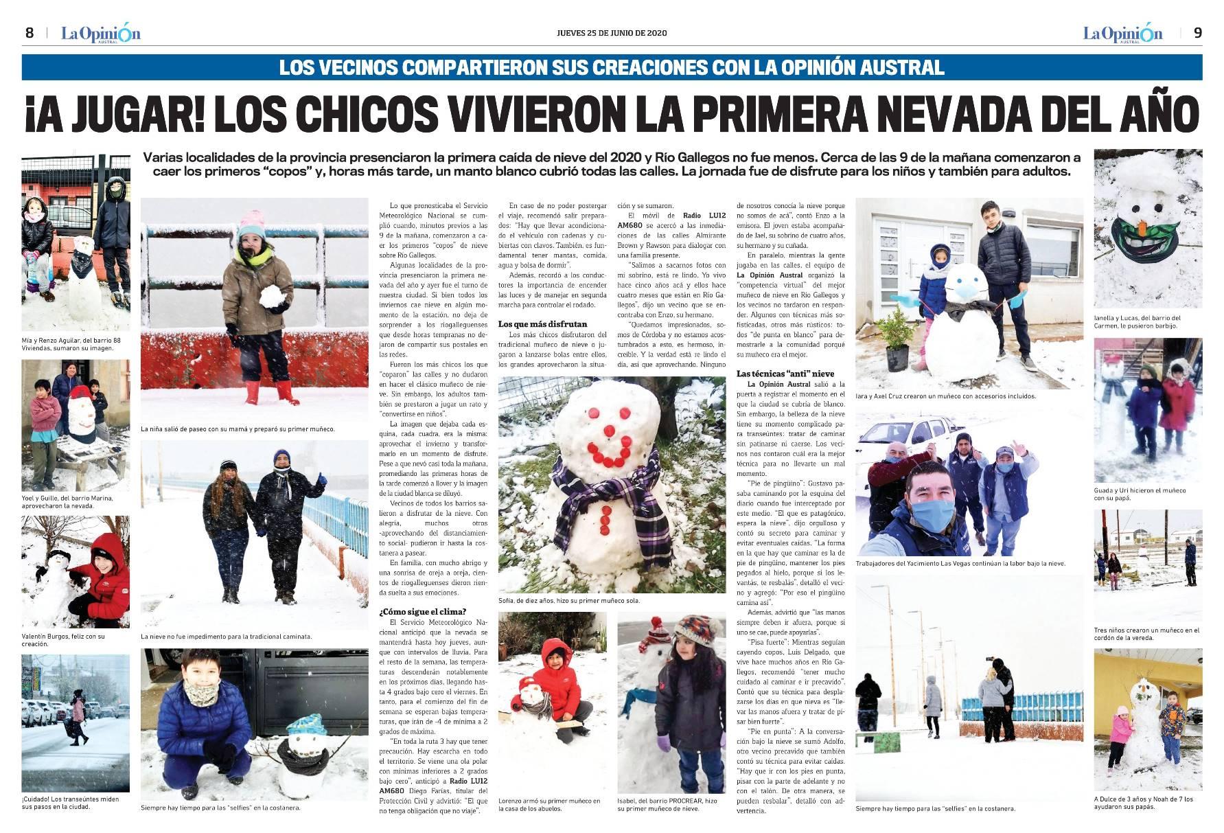 Los chicos y la nieve se llevaron el corazón del diario La Opinión Austral del 25 de junio.