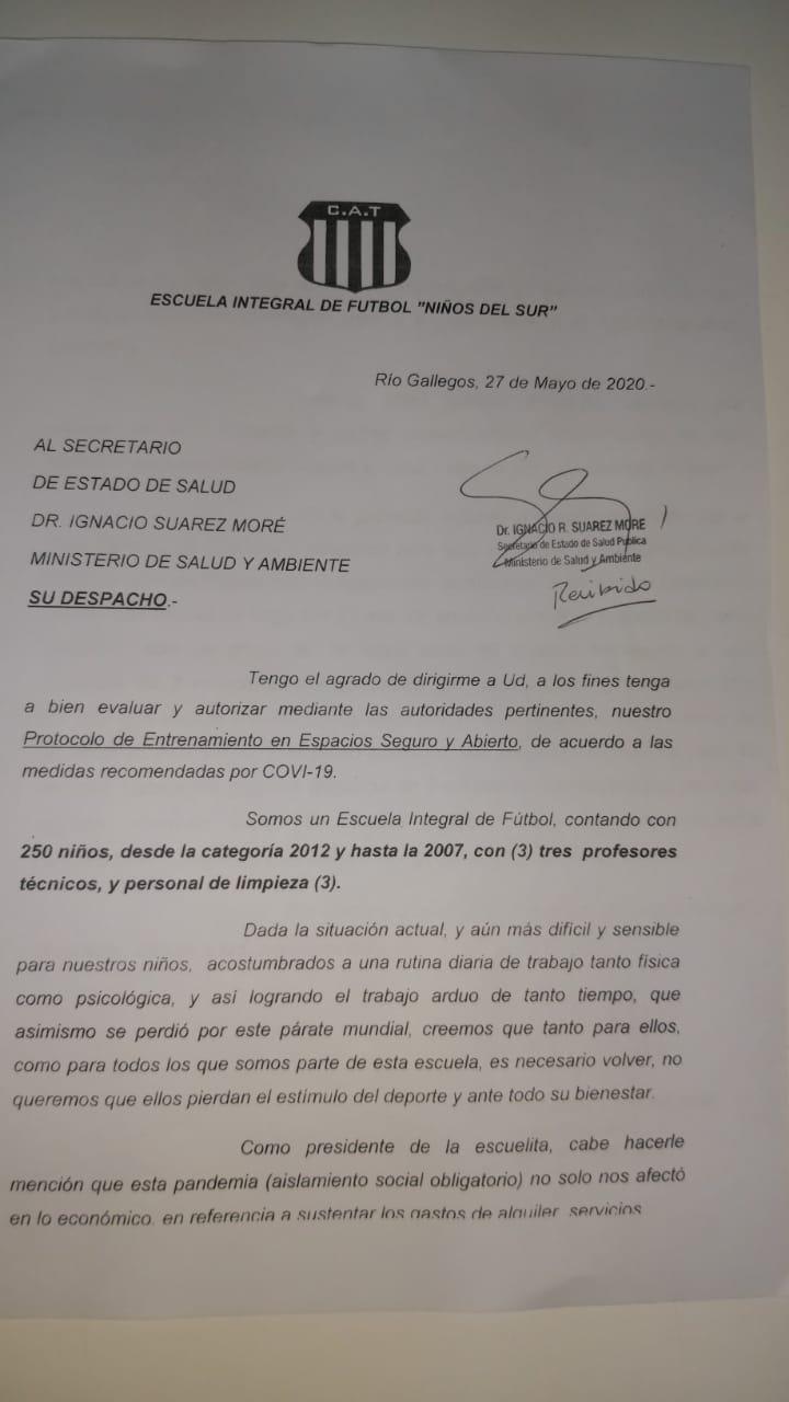La nota que había sido elevada por Talleres al Ministerio de Salud.