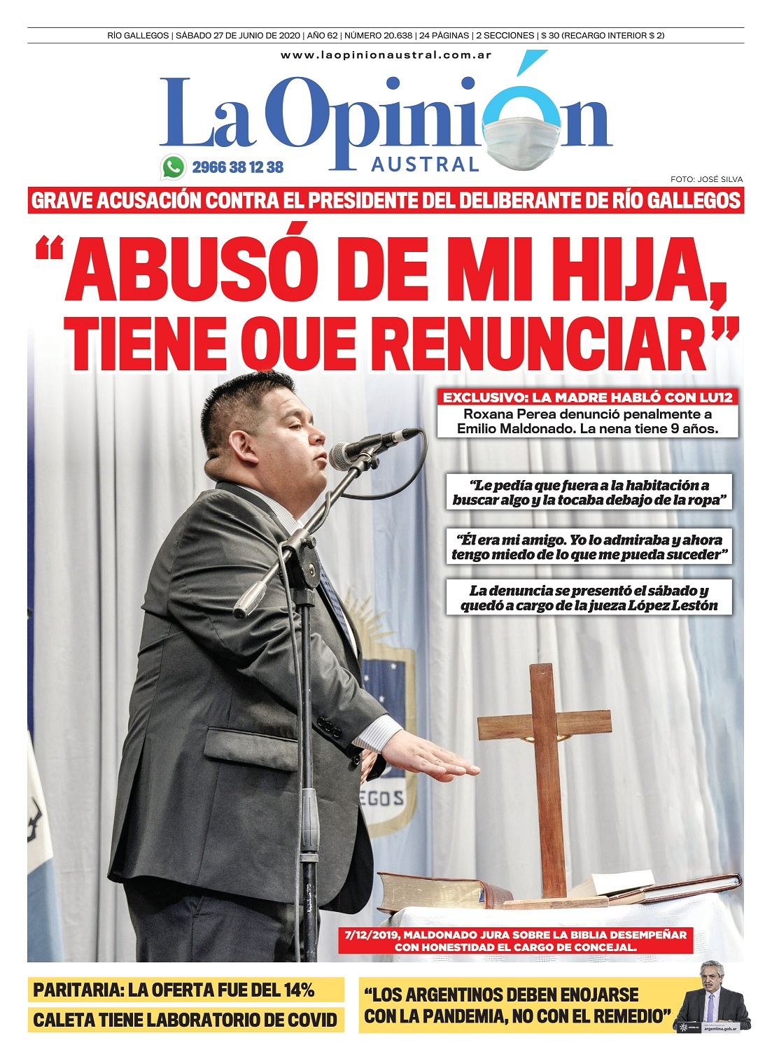 Tapa de La Opinión Austral el día después de conocerse la grave denuncia al concejal Maldonado.