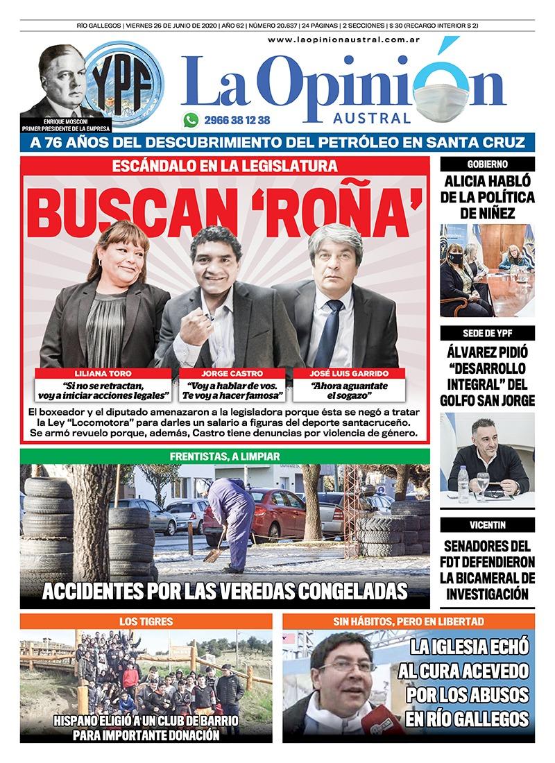 Tapa del diario La Opinión Austral edición impresa del 26 de junio de 2020.