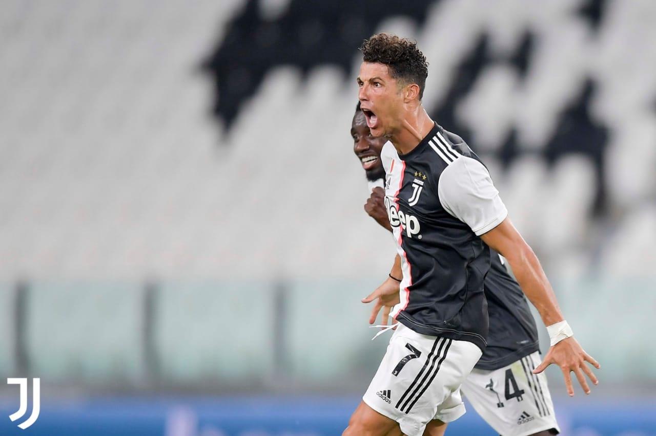 Cristiano Ronaldo luego de marcar el primer gol del partido. FOTO: Juventus.