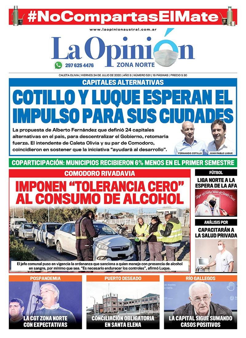 Tapa de LOA Zona Norte sobre las capitales alternativas en Santa Cruz y Chubut.