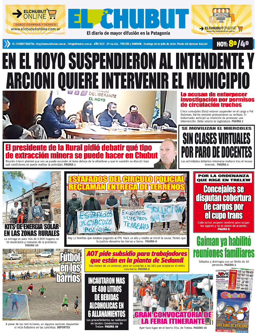 'En El Hoyo suspendieron al intendente y Arcioni quiere intervenir el municipio'. Diario El Chubut