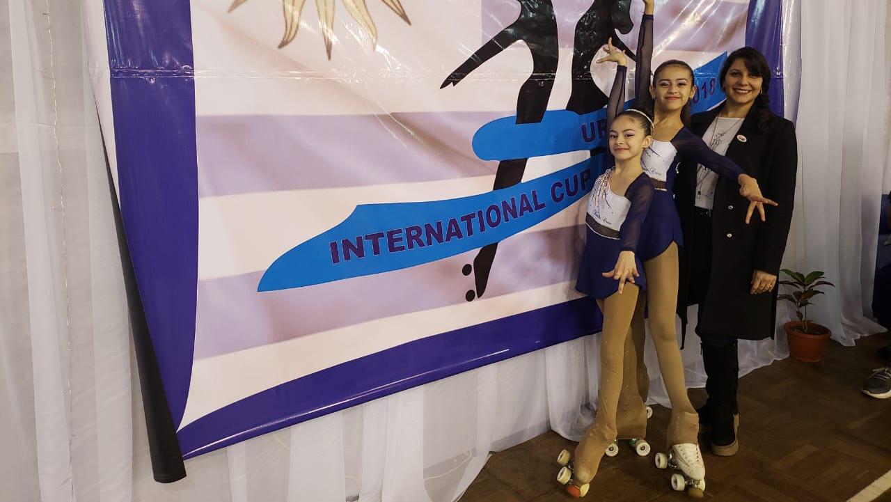 Luana Povoli, Abril Ortega y Lorena Castiñeira Nieto en Uruguay. FOTO GENTILEZA: FAMILIA ORTEGA