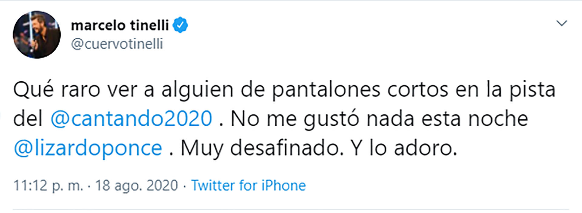 El tuit de Marcelo Tinelli.