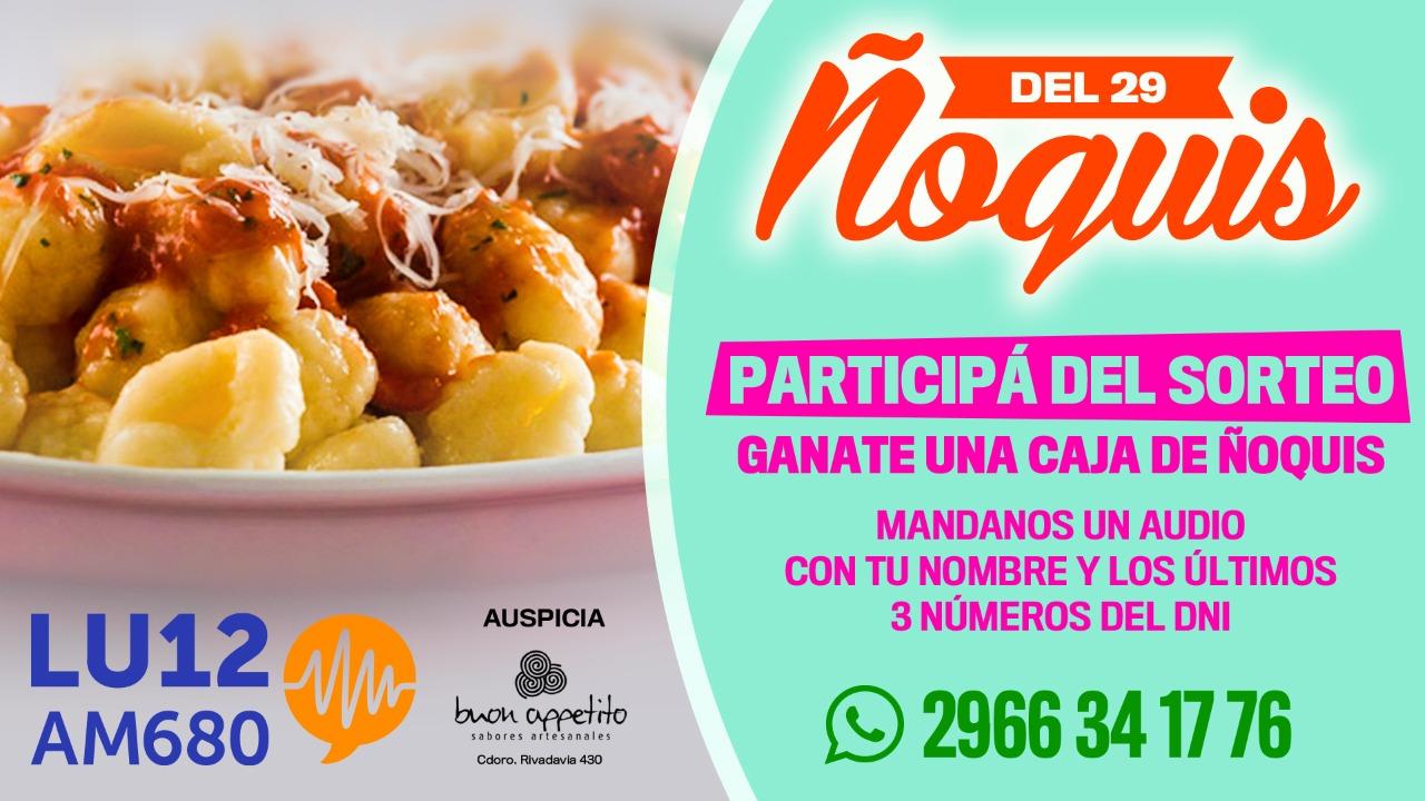 Para este 29, LU12 AM680 Río Gallegos sorteará una caja de deliciosos ñoquis hechos por Buon Appetito. ¡Participá y ganá!