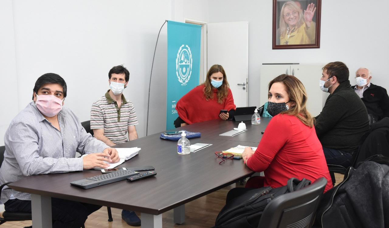 García, Travin, Rearte, Nadalich, Santoro y Cabrera durante la videoconferencia.