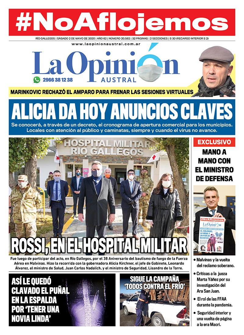 Alicia Kirchner y Agustín Rossi en el Hospital Militar de Río Gallegos
