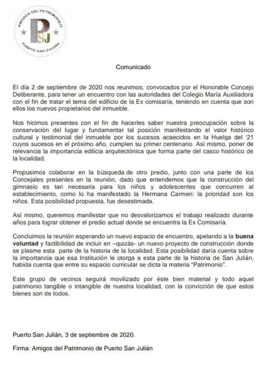 Asociación 'Amigos del Patrimonio' de Puerto San Julián.