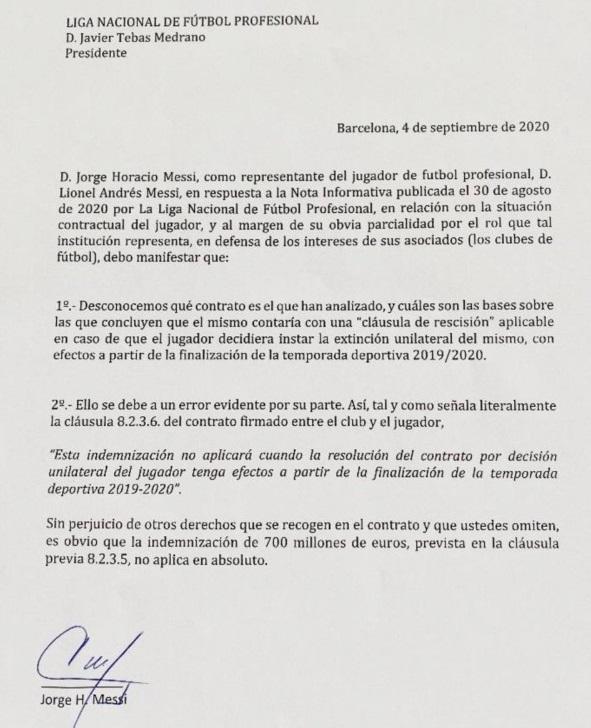 La carta que Jorge Messi envió ala presidente de la Liga