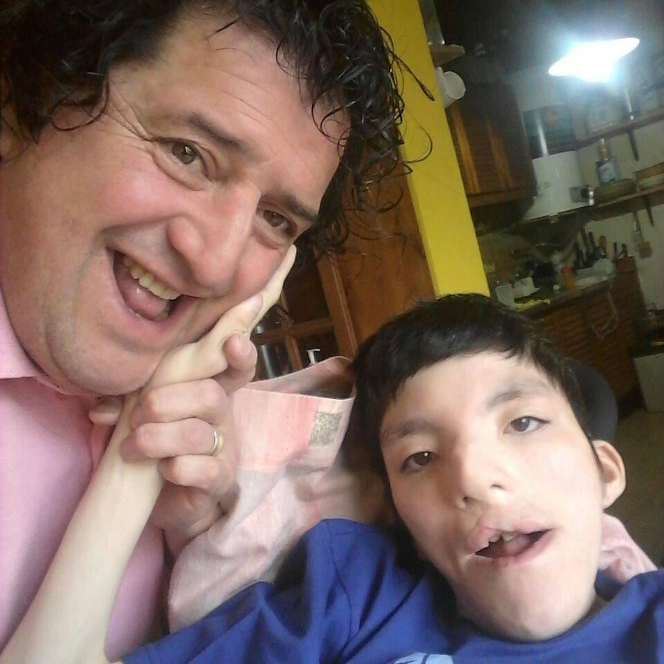 Con su hijo Diego, quién murió hace pocos años.