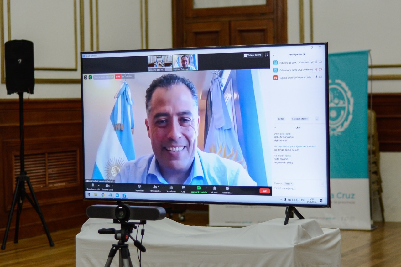 El vicegobernador, Eugenio Quiroga, estuvo presente por videollamada.