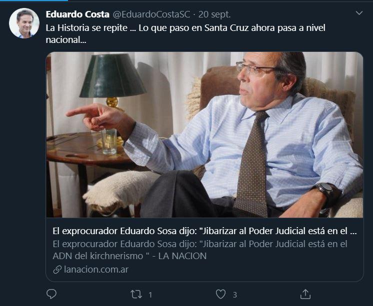 El tuit con el que Eduardo Costa recordó el Caso Sosa.