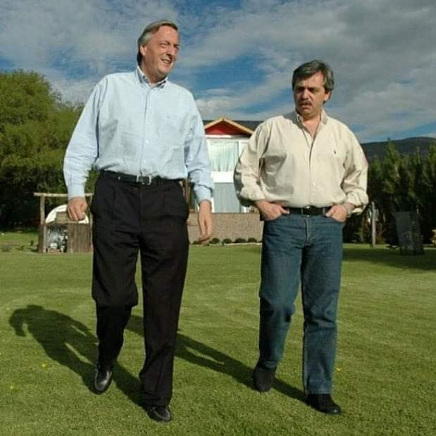 Néstor Kirchner y Alberto Fernández en El Calafate, Santa Cruz.