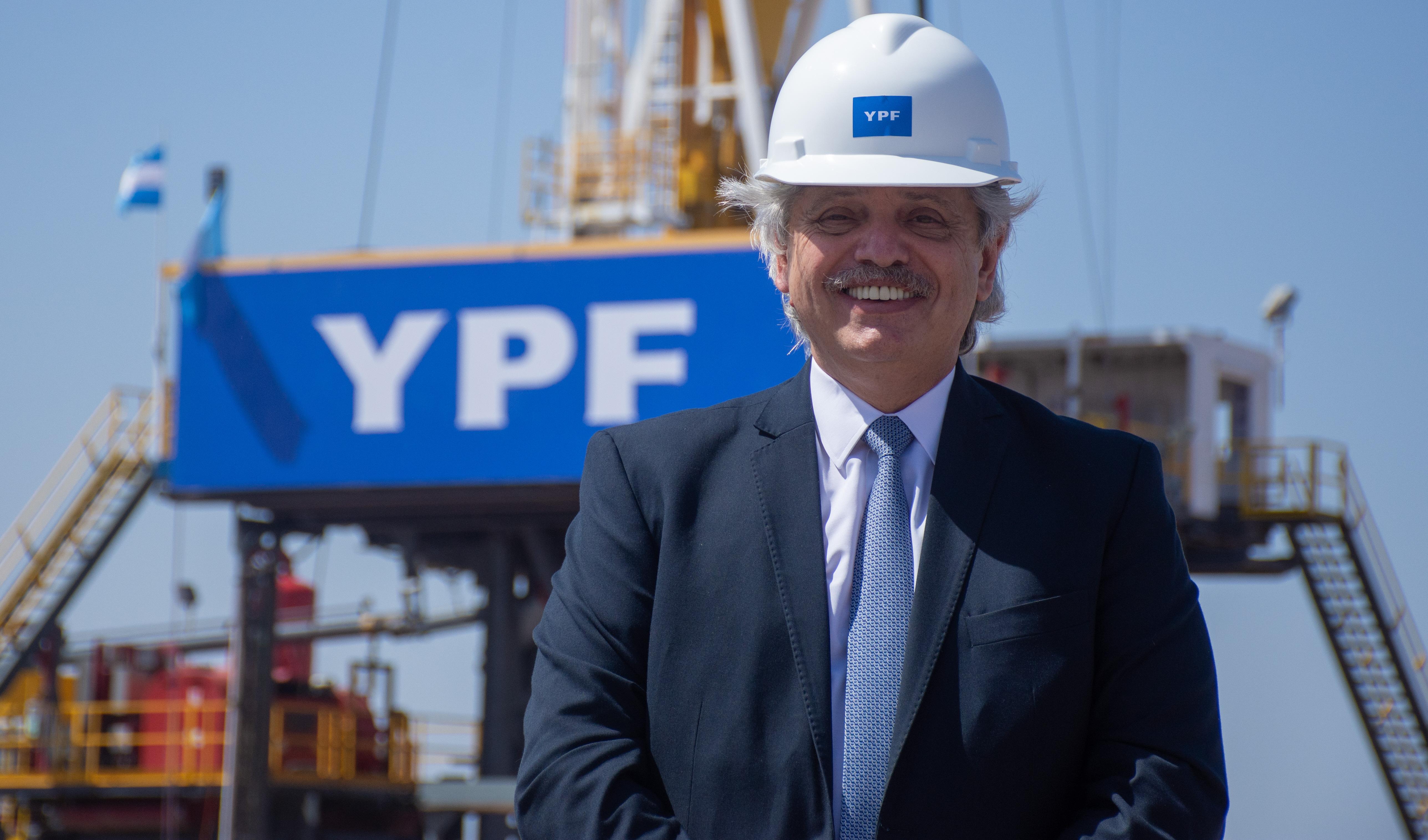 El presidente Alberto Fernández en la presentación del Plan Gas, en Vaca Muerta, el jueves 15 de octubre.