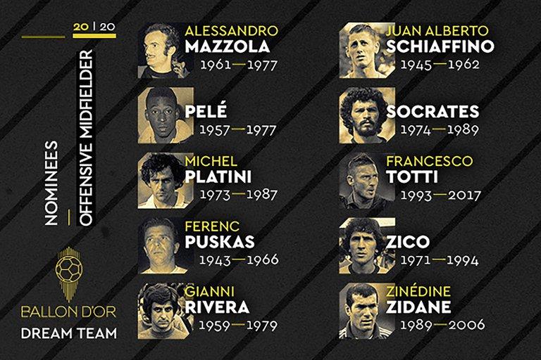 Los brasileros Pelé, Sócrates y Zico, entre las grandes figuras.