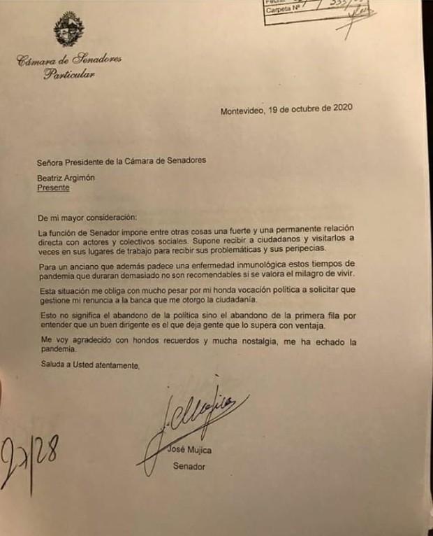 La carta de renuncia