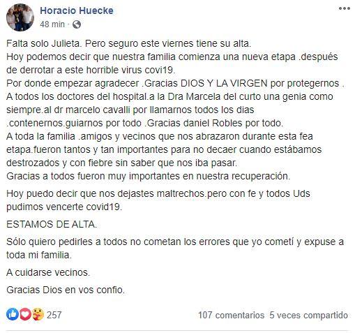 Huecke celebró el alta en sus redes sociales.
