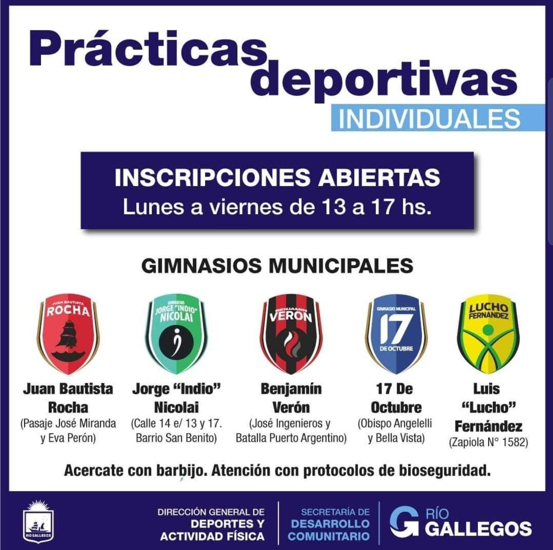 Los gimnasios municipales ya cuentan con inscripciones para prácticas deportivas individuales.