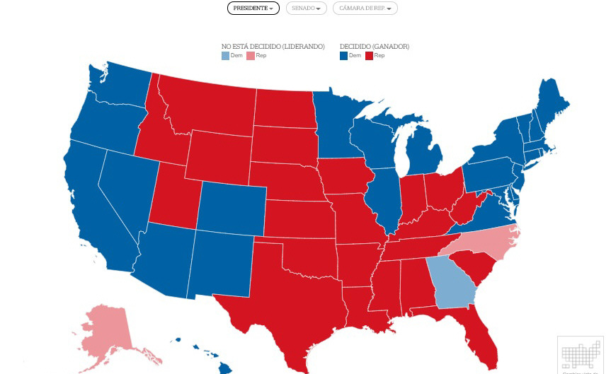 Así quedó el mapa electoral de Estados Unidos después de los resultados. FOTO: CNN