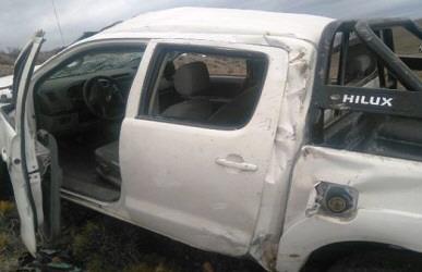 Así quedó la camioneta en la que murió Alejandro Guaymás.