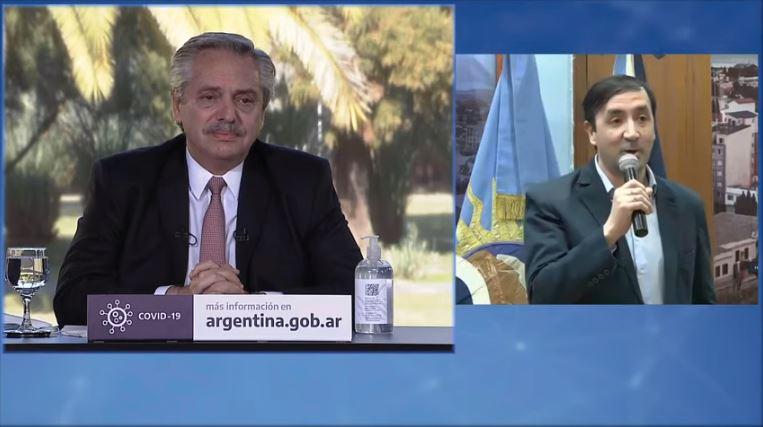 Alberto Fernández y Pablo Grasso en el relanzamiento del Programa Procrear.