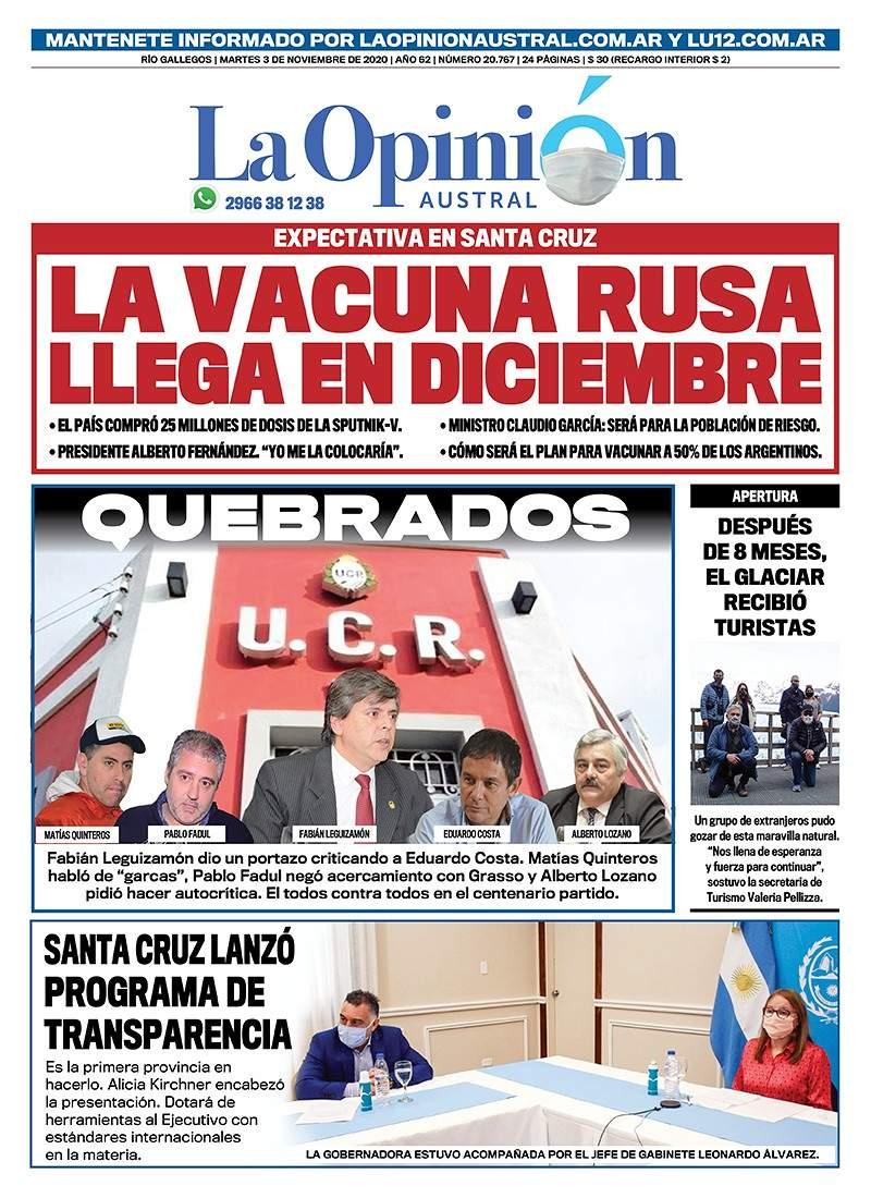 La renuncia de Fabián Leguizamón y sus duras críticas despertaron reacciones. Tapa de La Opinión Austral del 3 de noviembre de 2020.