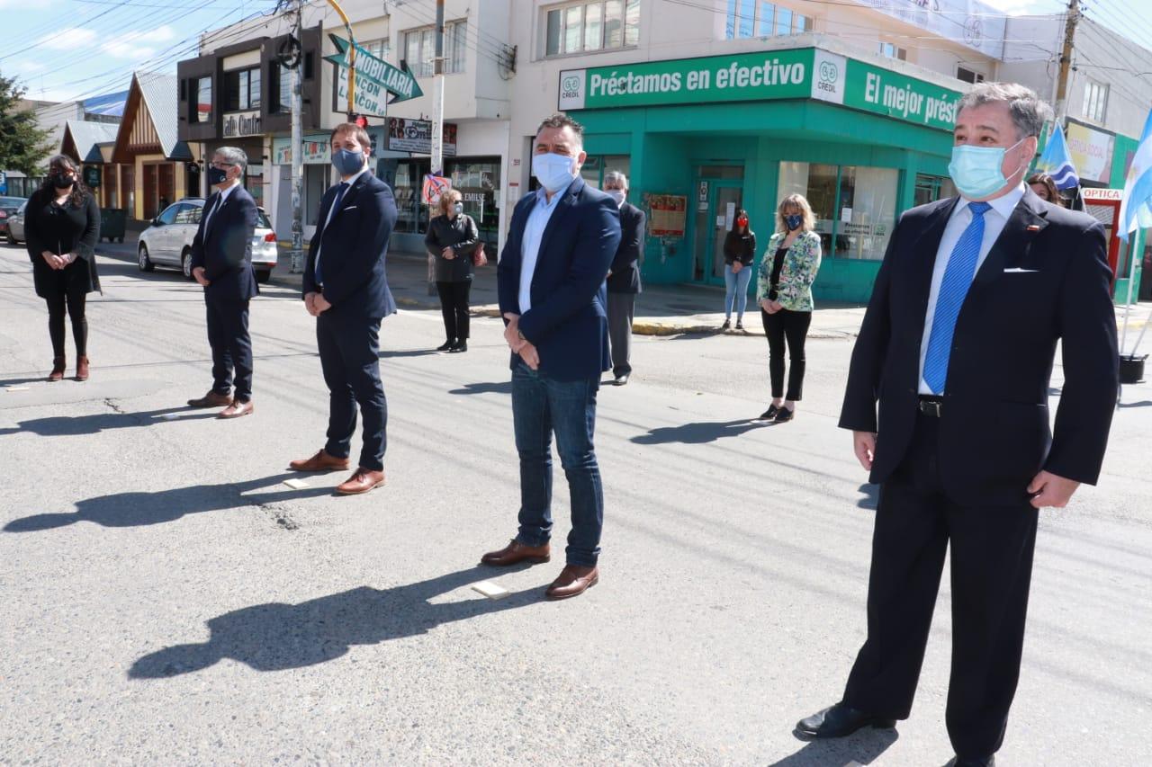 Jefe de Gabinete Leonardo Álvarez, Ministro de Gobierno Leandro Zuliani, diputado Eloy Echazú y Concejala Paola Acosta. FOTO: JOSÉ SILVA /LA OPINIÓN AUSTRAL