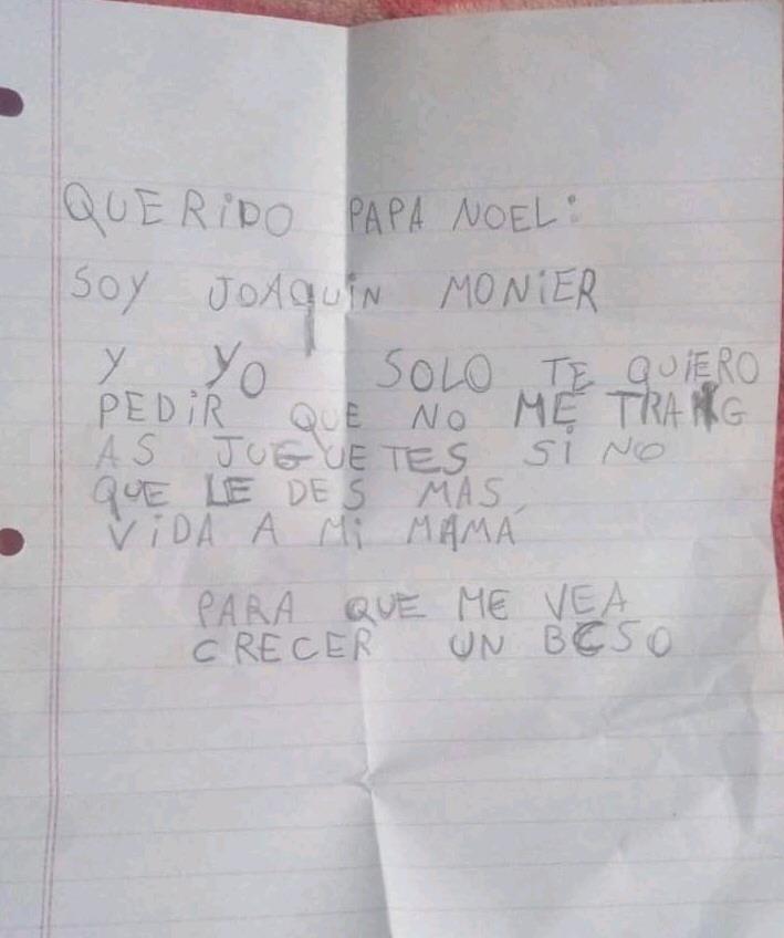 La primera carta que escribió el pequeño en 2018.