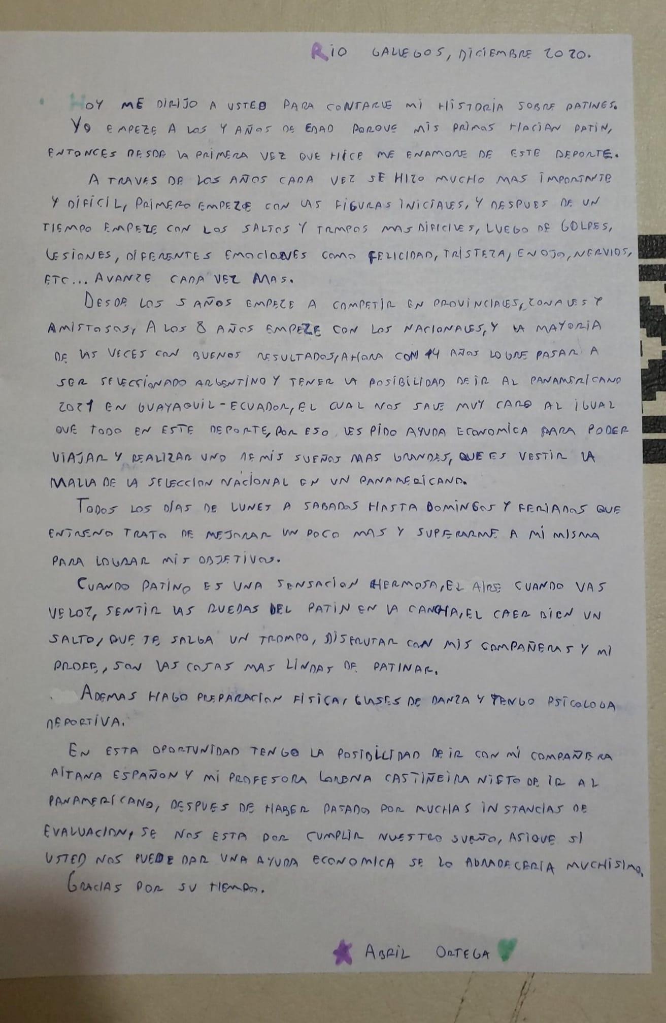 La emotiva carta de Abril Ortega.