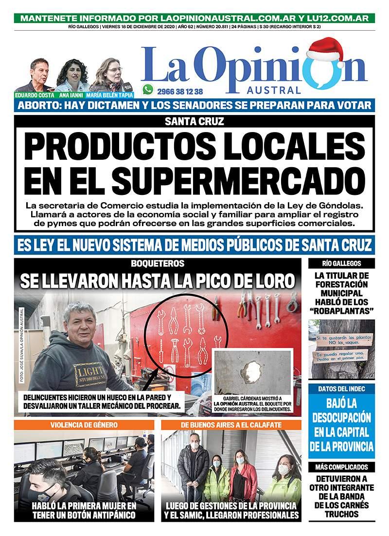 Diario La Opinión Austral tapa edición impresa del 18 de diciembre de 2020, Río Gallegos, Santa Cruz, Argentina