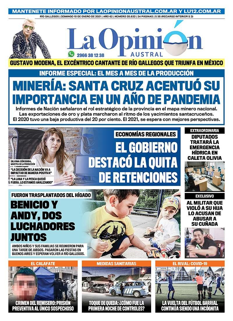 Diario La Opinión Austral tapa edición impresa del 10 de enero de 2021, Río Gallegos, Santa Cruz, Argentina