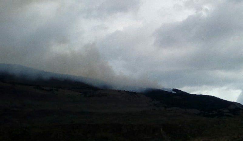 Primera imágen del incendio al norte del lago Argentino. FOTO: AHORA CALAFATE.