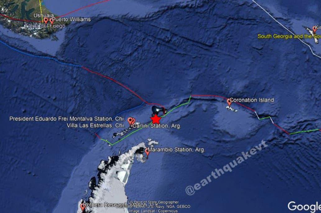 Localización del último sismo de 7.0 ocurrido cerca de la Antártida.