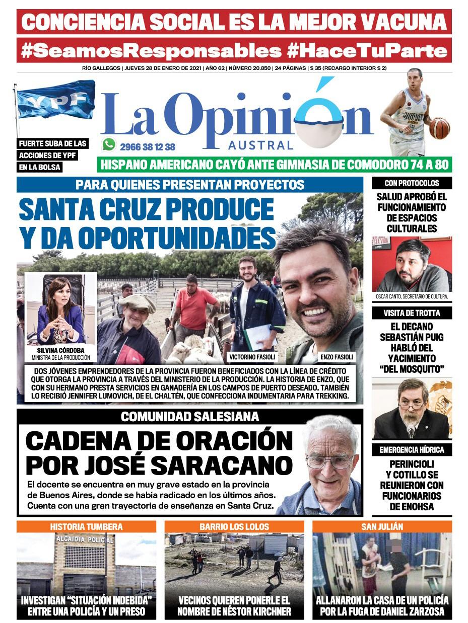 La tapa de LOA del 28 de enero: Santa Cruz Produce y da oportunidades.