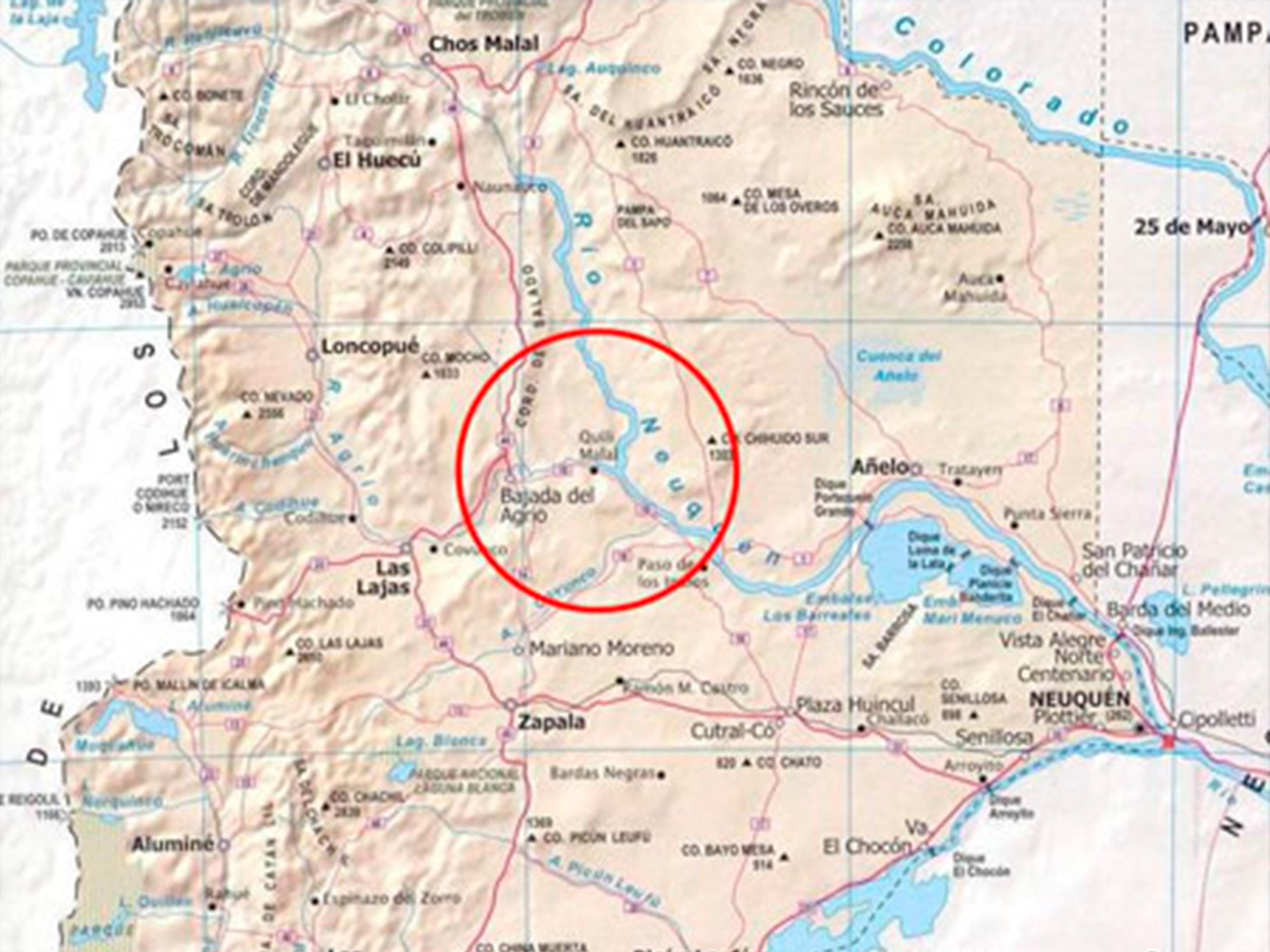 Ubicación de la Central Hidroeléctrica de Chihuido, en Neuquén. Podrá abastecer de energía a Vaca Muerta.