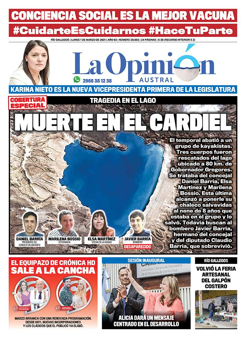 Tragedia en el lago. Tapa de LOA del 1 de marzo del 2021.