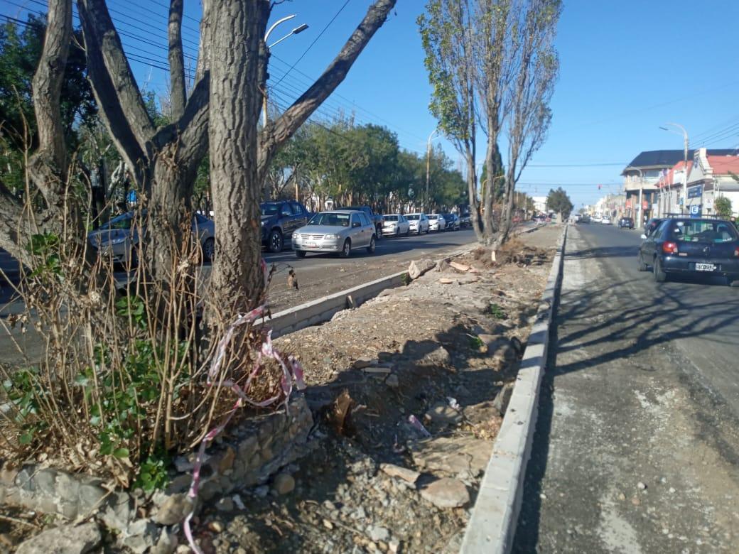 El boulevard San Martín, frente a la municipalidad. Foto: Mirta Velázquez/La Opinión Austral