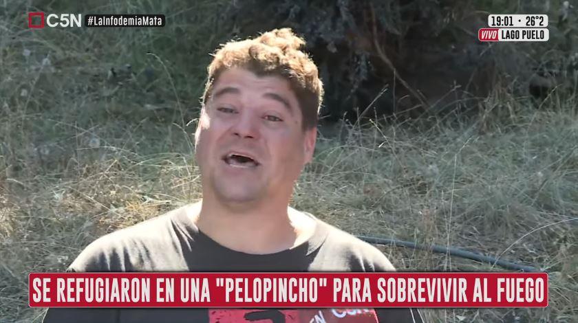 El dolor de Juan, uno de los cientos de patagónicos que perdió todo en el fuego.