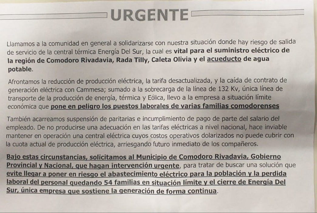 La solicitada que hicieron pública los trabajadores de Energía del Sur.