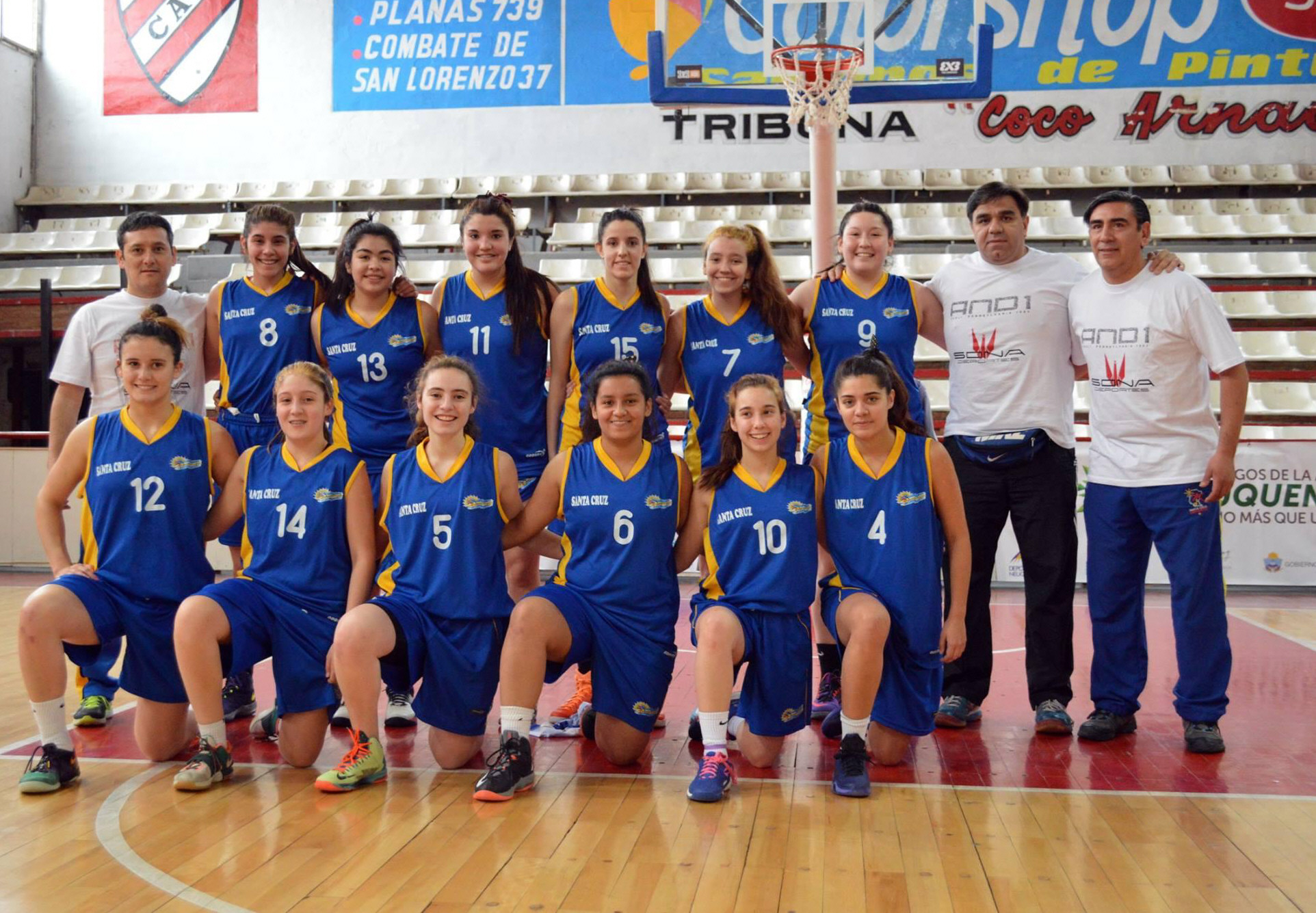El equipo de Santa Cruz en los Juegos Binacionales de la Araucanía 2015 en Neuquén.
