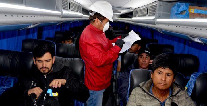 Imagen de los protocolos al inicio de la pandemia, con los mineros que llegaban de otras jurisdicciones.