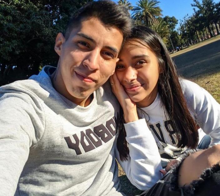 Junto a su esposo, Franco Morales.